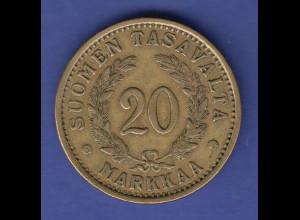 Finnland 1935 Kursmünze 20 zu 20 Markaa