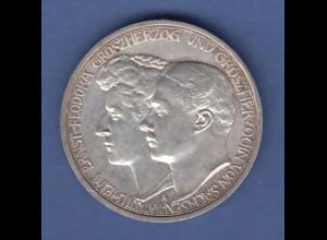Deutsches Kaiserreich Sachsen-Weimar Gedenkmünze 3 Mark Hochzeit Feodora