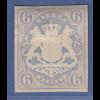 Bayern 1867 Wappenausgabe geschnitten 6 Kreuzer blau Mi.-Nr. 16 sauber *