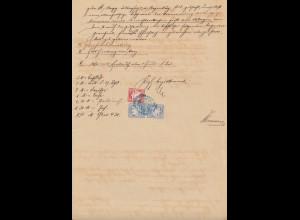 Bayern Wappen 10 und 2x 20 Pfg. fiskalisch verw. auf Dokument Schwarzenbach 1904