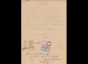 Bayern Wappen 1 Mark ect. fiskalisch verw. auf Dokument Schwarzenbach 1905