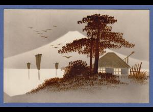 historische AK Japan Baum und Haus vor Mount Fuji braun / grau / gold