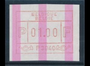 Belgien FRAMA-ATM P3040 mit ENDSTREIFEN, Wertstufe 01,00 Top-RARITÄT !