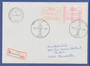 Belgien, extrem seltene FRAMA-ATM P3048 mit ENDSTREIFEN auf Brief.