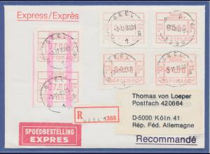 Belgien, FRAMA-ATM P3011, ENDSTREIFEN-Anfang über 2 ATM auf R-Express-Brief.