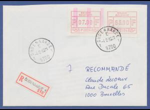 Belgien, FRAMA-ATM P3024, schöne ENDSTREIFEN-Anfangs-ATM auf R-Brief.