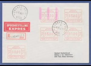 Belgien, FRAMA-ATM P3015, schöne ENDSTREIFEN-Anfangs-ATM auf R-Express-Brief.