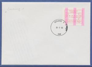 Belgien FRAMA-ENDSTREIFEN-ATM P 3051 auf FDC Seraing 28.3.83. SEHR SELTEN !