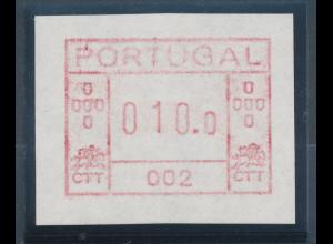 Portugal Frama-ATM 1981, ATM mit Gerätenummer 002 auf weißem Papier