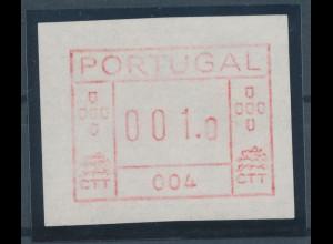 Portugal Frama-ATM 1981, ATM mit Gerätenummer 004 auf weißem Papier