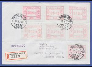 Portugal Frama-ATM 1981, Brief mit 7 ATM 001-007 aus OA und mit Orts-Stempel !