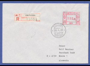 Portugal Frama-ATM 1981, R-Brief mit ATM 001 aus OA mit Orts-O Portimao 28.4.83