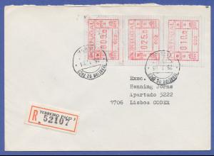 Portugal Frama-ATM 1981, R-Brief mit ATM 002 aus OA und Orts-O 25.1.83