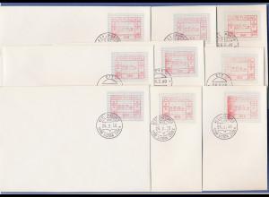 Portugal Frama-ATM Nr. 008, 009 und 010, je seltener Satz 32-60-260 auf FDC !