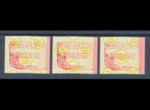 Malaysia FRAMA-ATM mit einem ENDSTREIFEN rechts, Satz 3 Werte **