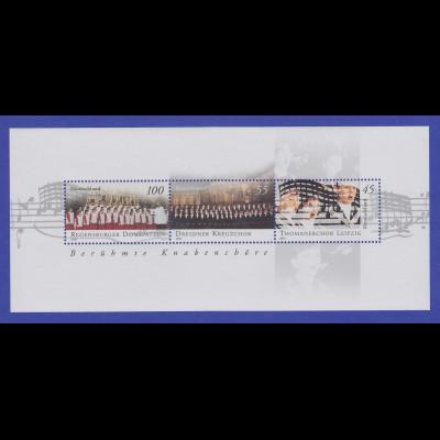 Bundesrepublik 2002 Blockausgabe Berühmte Knabenchöre Mi.-Nr. Block 61 **
