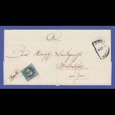 Bayern 1850 gute Mi.-Nr. 2 I auf kpl. Briefhülle von Zorneding nach Wasserburg