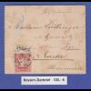 Bayern Wappen 10 Pfg. Mi.-Nr. 56 Bx auf kleinem Zierbrief, O Berchtesgaden, 1890