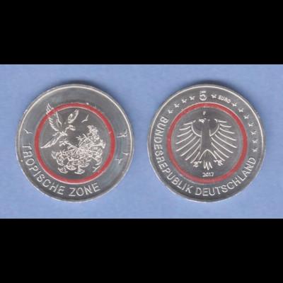 5 Euro Münze Klimazonen Der Erde Tropische Zone 2017 Prägestätte F
