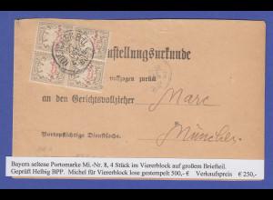 Bayern Portomarke Mi.-Nr. 8 VIERERBLOCK auf Postzustellungsurkunde München 1888