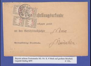 Bayern Portomarke Mi.-Nr. 8 2 Paare auf Postzustellungsurkunde München 1888