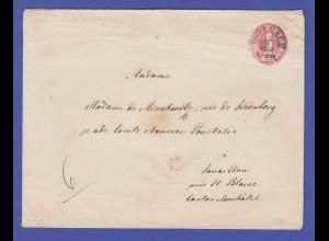 Thurn und Taxis Ganzsachen-Umschlag 1 Sgr. Mi-Nr. U 10B 1863 gel. in die Schweiz