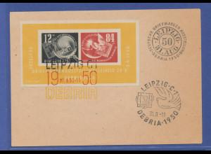 DDR 1950, DEBRIA Block mit 3-farbigem Sonderstempel auf Karte.