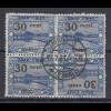 Saarland Mi.-Nr. 76 Kehrdruck-Viererblock 76A Kdr I bzw. III gestempelt