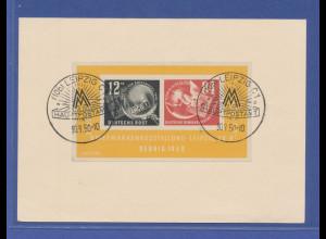 DDR 1950, 84 DEBRIA-Block auf Karte mit Messe-Sonder-Stempeln Leipzig 30.8.50