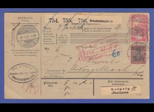 Dt. Reich Germania REICHSPOST 1 Mark mit anderen Werten auf Paketkarte nach CH