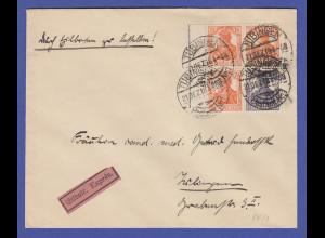 Dt. Reich Germania-Zusammendruck W11 ba auf Eilbrief aus Tübingen, 21.12.18