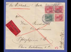 Dt. Reich Germania-Zusammendruck W7 I ab auf Eilbrief Frankfurt - Pforzheim 1914