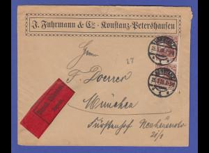 Dt. Reich Infla-Garmania Mi.-Nr. 103 b-Farbe im senkr. Paar als MEF auf Eil-Bf.