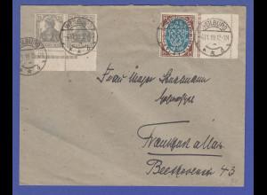 Dt. Reich Weimar Nat.-Vers. Mi.-Nr. 108 mit anhäng. LEERFELD rechts auf Brief