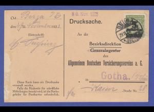 Dt. Reich Infla Mi-Nr. 333 als EF auf Postkarte gel. von BURGA n. Gotha 30.11.23