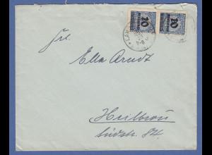 Dt. Reich Infla Mi-Nr. 335 B senkr. Paar als MEF auf Brief von Langenberg