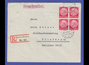 Dt. Reich Hindenburg 15 Pfg rot Mi.-Nr. 470 Viererblock auf R-Brief aus Allach