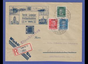 Dt. Reich 1927 IAA-Satz Mi.-Nr. 407-409 auf R-Brief von Leipzig -> Schwerin