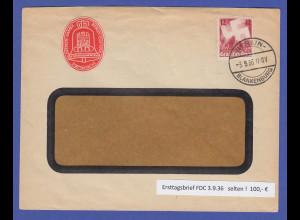 Dt. Reich Parteitag Mi.-Nr. 633 auf FDC 3.9.36 mit Tages-O BERLIN-BLANKENBURG