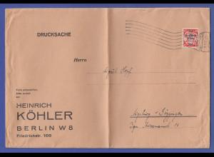 Dt. Reich Danzig-Aufdruck 15Pfg Mi.-Nr. 722 sehr seltene EF auf gr. Drucksache