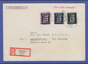 Dt. Lokalausgaben Glauchau Mi.-Nr. 3, 4 und 5 auf R-Brief 8.8.45 -> Markkleeberg