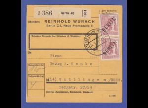 Berlin 60 Pfg Scwarzaufdruck senkr. Paar als MEF auf Paketkarte nach Tuttlingen