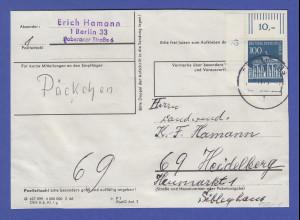 Berlin Brandenb. Tor Mi.-Nr. 290 Eckrandstück mit DZ 12 als EF auf Päckchen