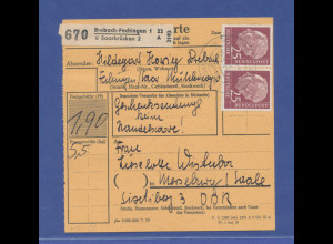 Bund Heuss 25Pfg waagerechtes Paar auf Paketkarte aus Brebach-Fechingen / Saar