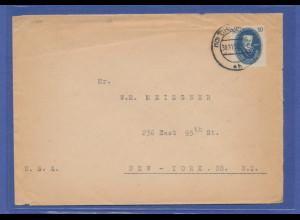 DDR 1950 Akademie 50Pfg als Einzelfrankatur auf Bf. von Chemnitz nach New York