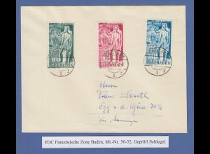 Französische Zone Baden Carl Schurz Mi.-Nr. 50-52 auf FDC gepr. Schlegel BPP