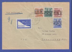 Bizone Flugpost-Zulassungsmarke auf LP-Brief von WERMELSKIRCHEN in die USA