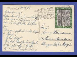 Bund Marienkirche 10Pfg Mi-Nr. 139 als EF auf Postkarte von Oberstdorf -> Berlin