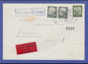 Bund Heuss II 30Pfg waag. Paar in MIF auf Expressbrief-Ortsbrief München 1962