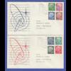 Bundesrepublik Heuss lumogen y-Pap. 8 Werte kpl. auf 2 Briefen O Darmstadt 1961